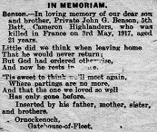 Memoriam poem to John George Benson